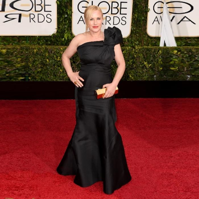 robe sirène longue au sol, épaules asymétriques, Patricia Arquette au tapis rouge