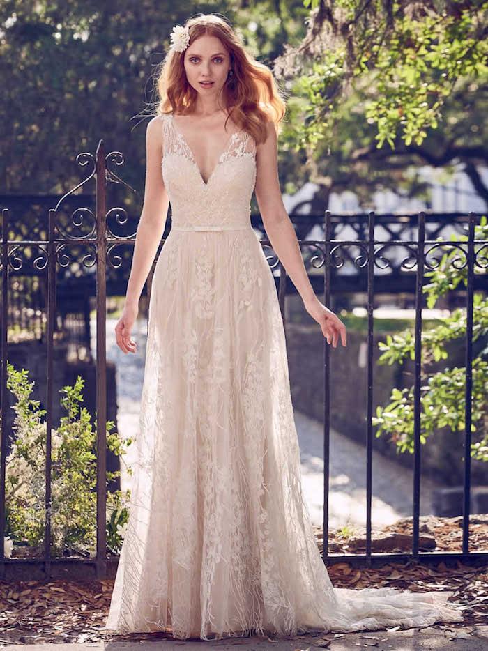 Robe de mariée 2018 robe dentelle mariage luxueuse robe de mariage magnifique robe de mariee rose pale