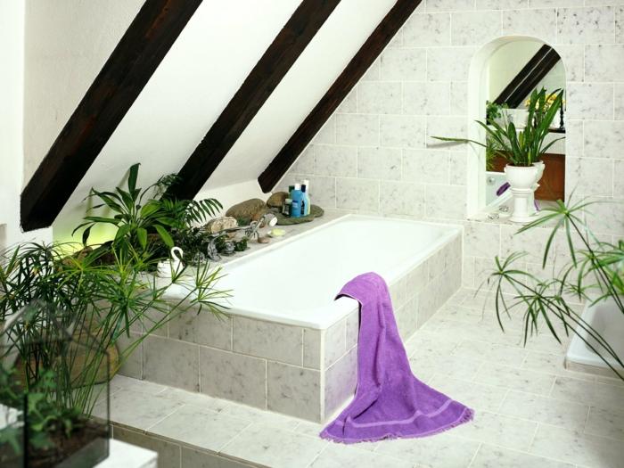 plante retombante, plante pour salle de bain, plantes vertes d'intérieur, pièce sous les combles, petit espace optimisé, plante pour salle de bain, baignoire forme rectangulaire habillée de carrelage en couleur crème