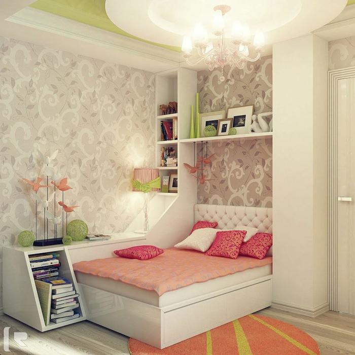 chambre fille ado, deco pour chambre ado fille, murs en blanc et gris aux motifs arabesques baroques, luminaire style chandelier avec de ampoules en forme de bougies, tapis rond en orange et vert pomme