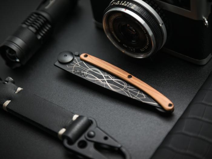 idee cadeau fete des peres, bureau classe, objets fonctionnels et chics, appareil photo, bretelles, objet pour illuminer la voie dans le noir, couteau