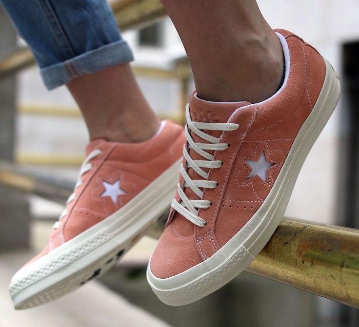 quelle basket a la mode homme simple style tennis retro Converse One Star Ox saumon rose orange