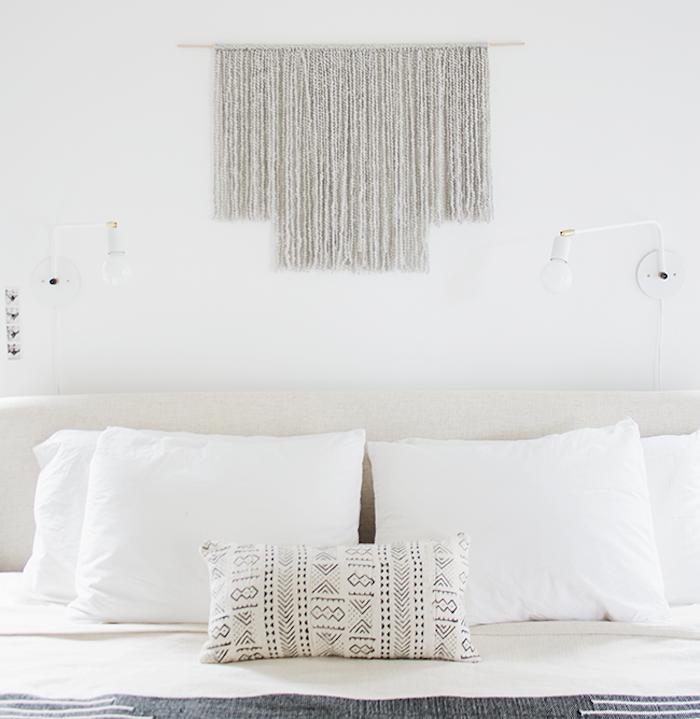 tuto macramé mural simple avec fils de laine pour déco chambre