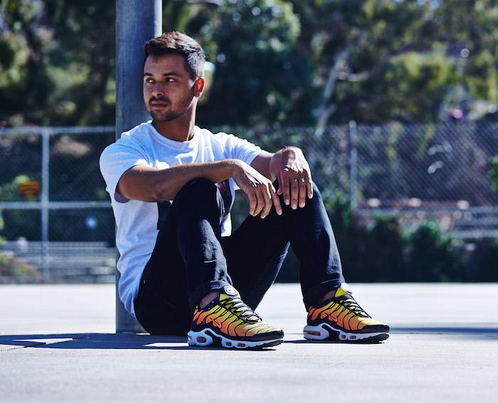 basket tendance 2018 avec Nike Air Max TN plus jaune orange noir sneakers homme