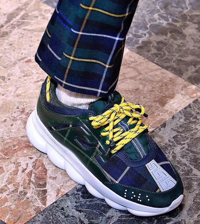 basket tendance ete 2018 Versace Chain Reaction luxe vert jacquard avec style ecossais 2 chainz