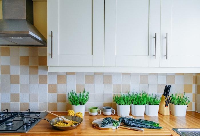 carrelage cuisine beige et blanc, plan de travail bois clair et meuble haut blanc, aspirateur inox, plantes vertes dans petits pots blancs
