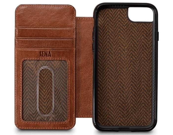 modèle d'étui élégant à design cuir marron et plastique noir mate, exemple d'accessoire moderne pour homme