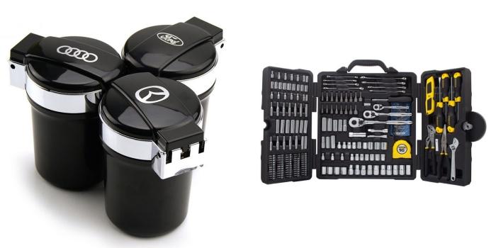 superbe idee fete des peres avec un cadeau accessoire pour voiture, modèle de cendrier à design moderne noir et gris