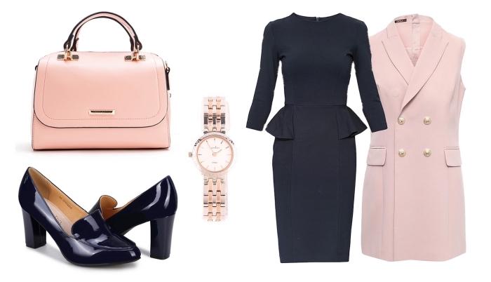 pièces et accessoires à combiner pour réussir sa tenue entretien d embauche femme en robe aux manches longues et blazer long sans manches rose pastel