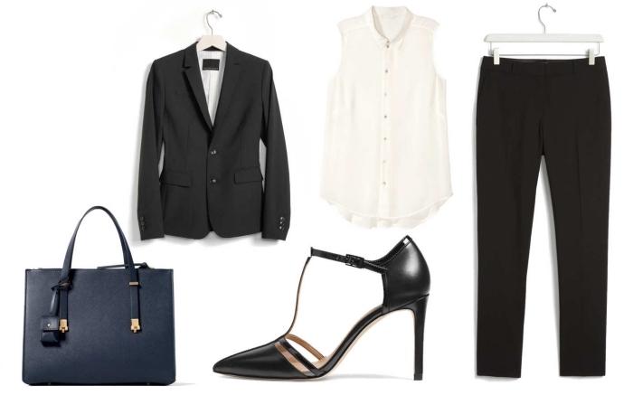 idée pour choisir un tailleur pantalon femme chic avec pantalon et blazer noir combinés avec top sans manches blanc
