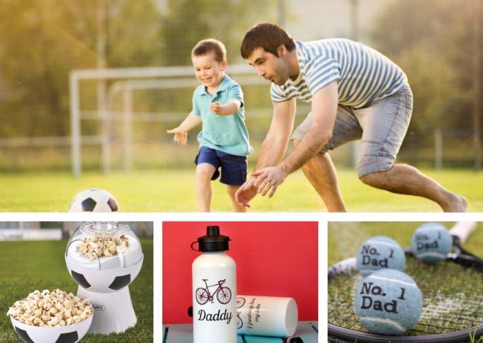comment célébrer la fete des papa avec un cool cadeau sur le thème du foot, modèle de machine à popcorn à design ballons de foot