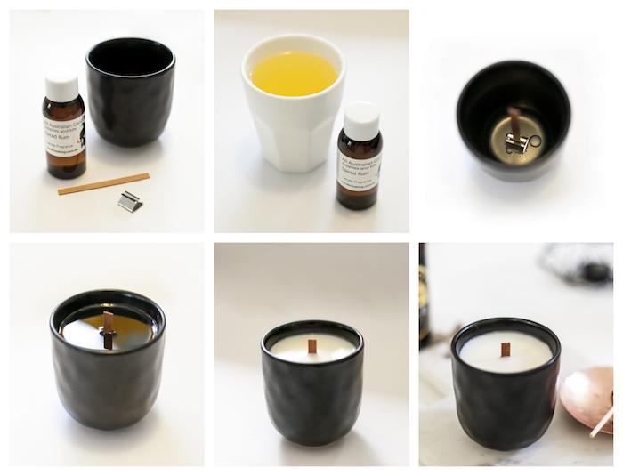 modele de cadeau fete des peres a fabriquer, une bougie aromatique homme dans une tasse noire