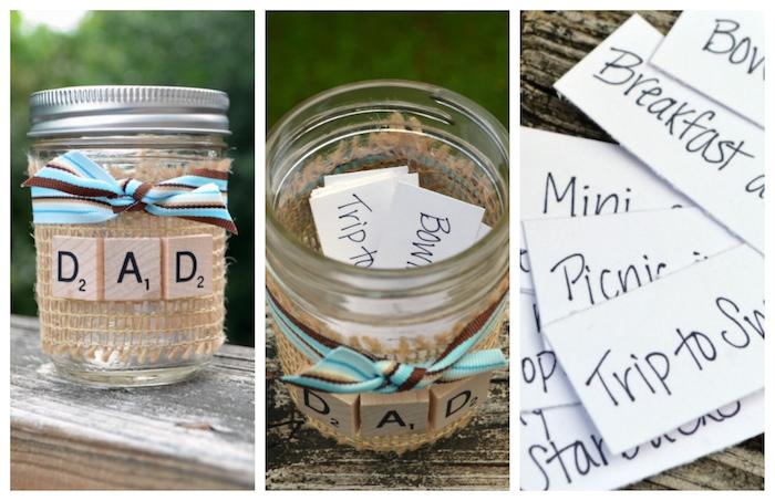 pot en verre décoré de bande de jute et lettres scrabble mot papa et des étiquettes activités à réaliser avec papa, activité fete des peres