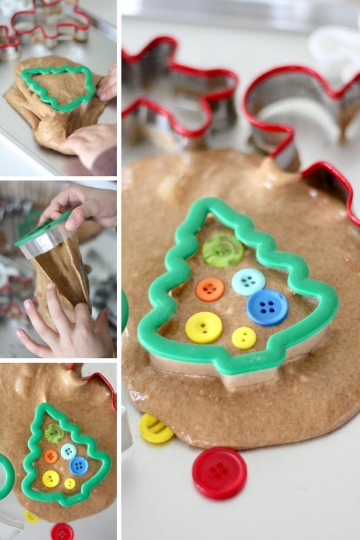 idée de bricolage de noël pour amuser les enfants, recette du slime facile parfumé au pain d'épices