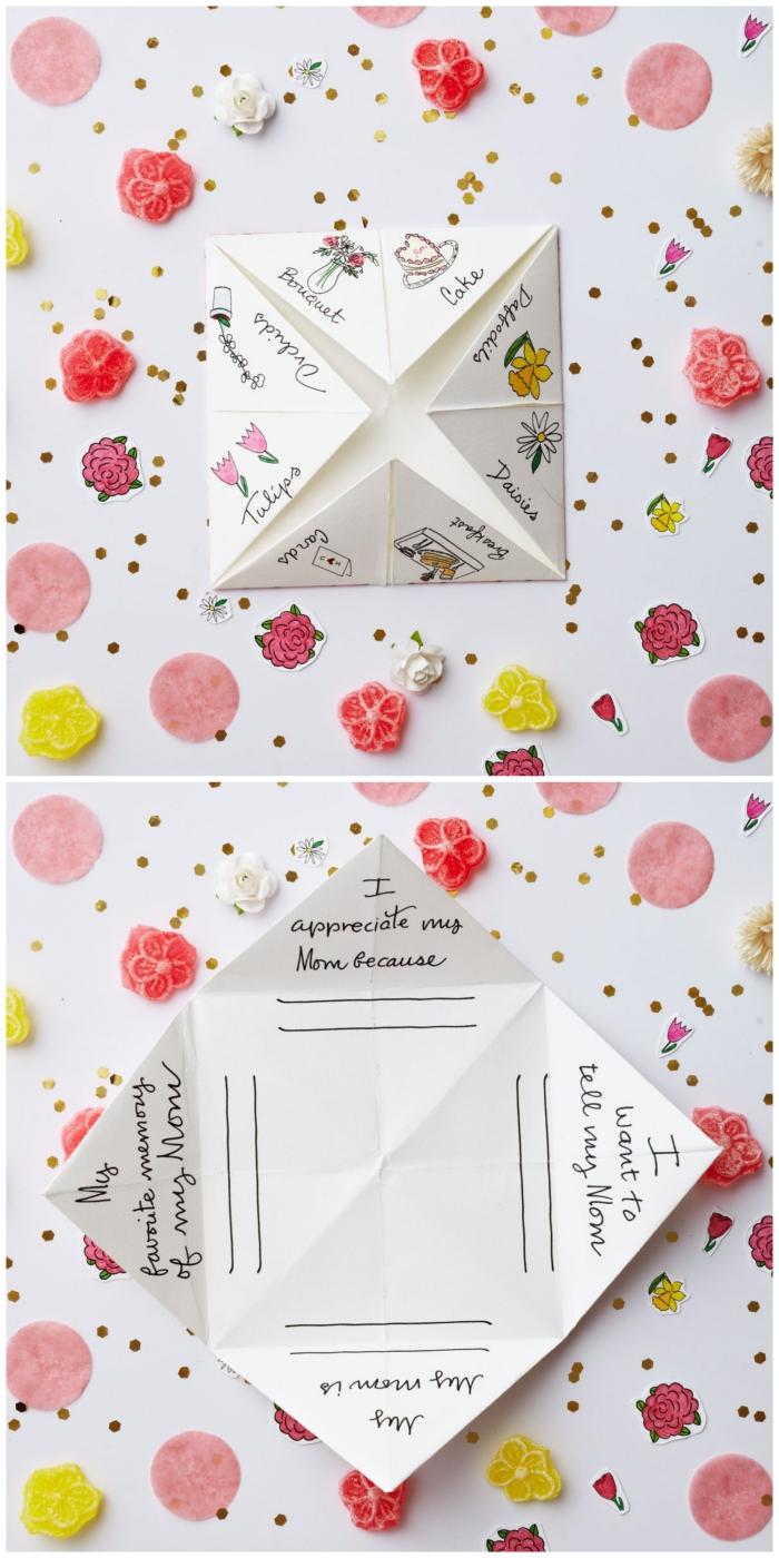 joli printable pour faire une cocotte spécial fête des mères, à joli motif rose et une écriture manuscrite