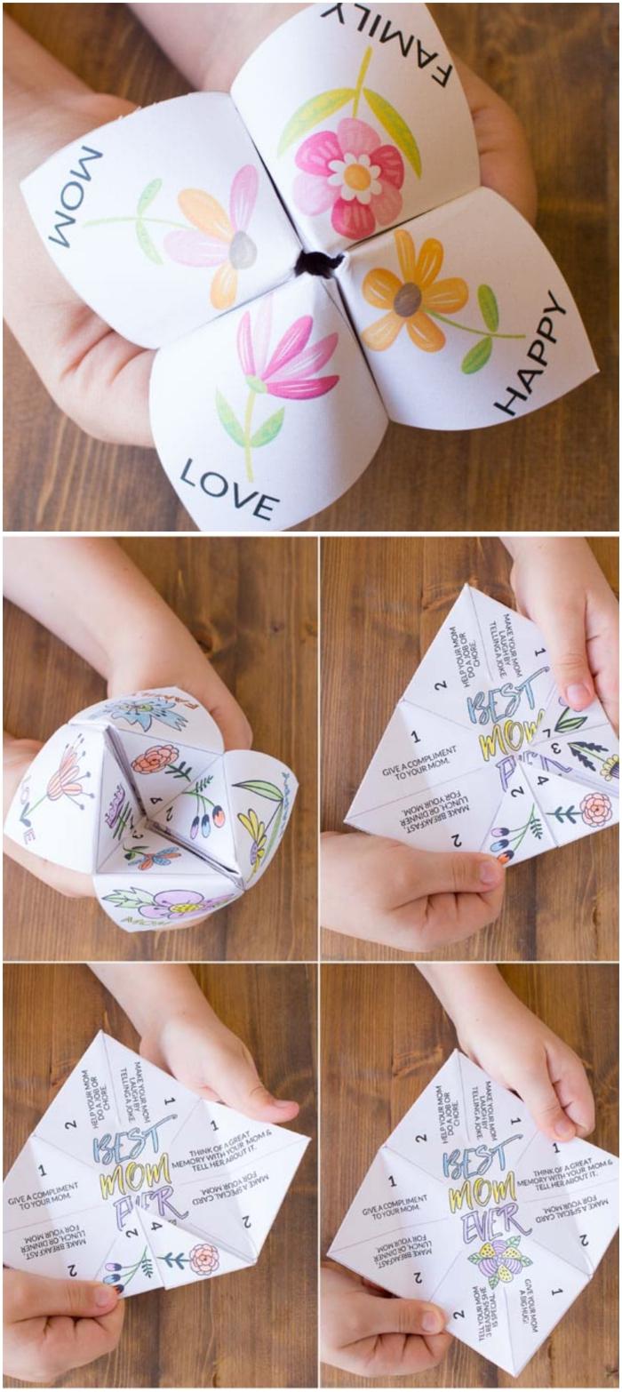 une activité manuelle facile et amusante pour la fête des mères, une cocotte origami fleurie pleines de surprises