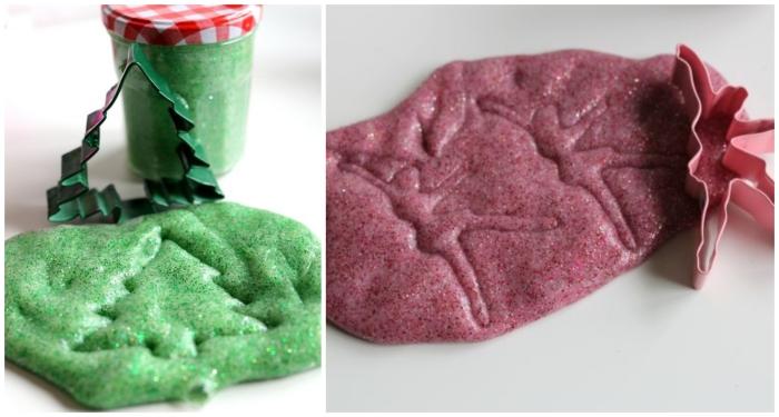 recette diy pour faire du slime de noel qu'on peut offrir comme cadeau de noel personnalisé, pot de slime coloré et un emporte-pièce ballerine ou sapin