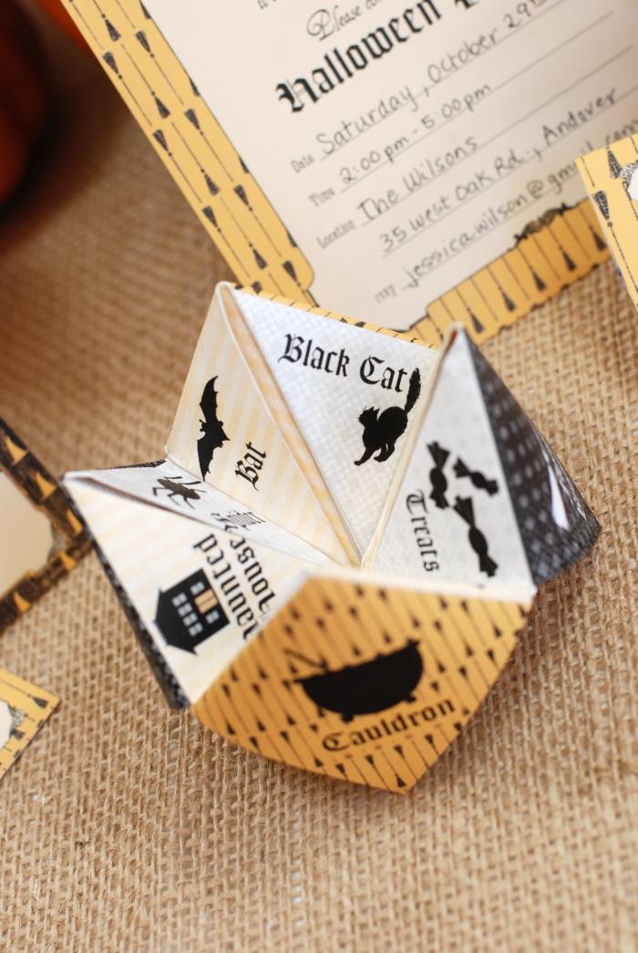 créer une carte d'invitation pour halloween à partir d'un modèle de cocotte origami à imprimer et à plier soi-même