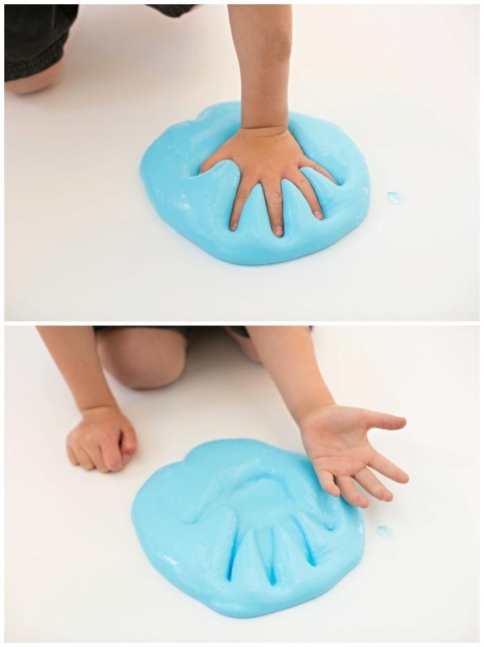une activité sensorielle ludique et éducative avec du slime fait maison, recette slime arc-en-ciel facile à faire avec les enfants et très agréable à malaxer