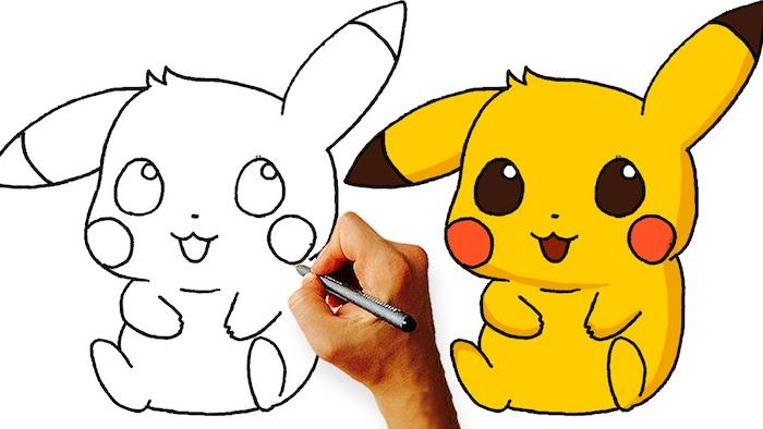 Idée déssin mignon dessin pikachu photo à copier image dessin à faire Pikachu en jaune