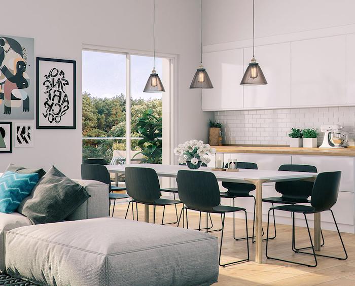 Déco salon salle à manger idée déco salon moderne jolie décoration salon avec coin à manger chaises table à manger