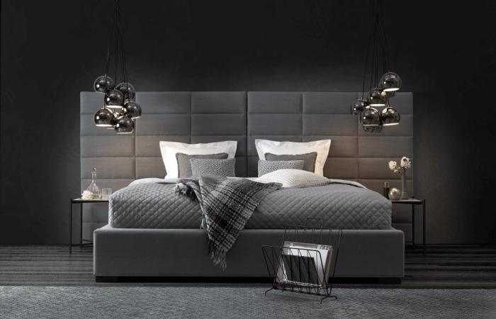 exemple d'aménagement de chambre adulte en look monochrome avec peinture murale en gris foncé et meubles en différentes nuances de gris