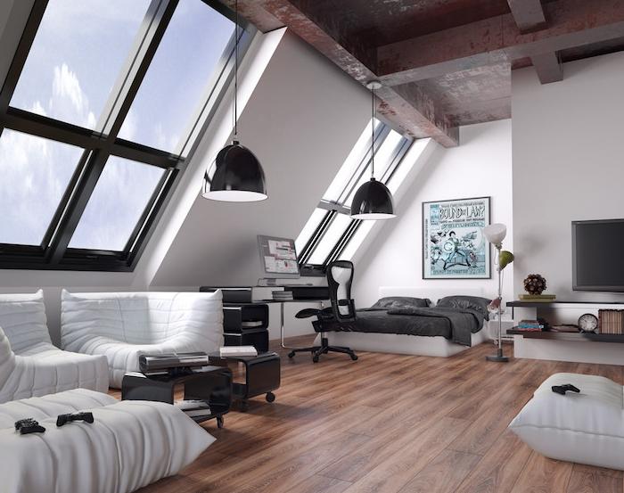 idée déco loft industriel avec des poutres apparentes, parquet bois, meuble style industriel blanc, lit avec linge gris, déco en affiche publicitaire