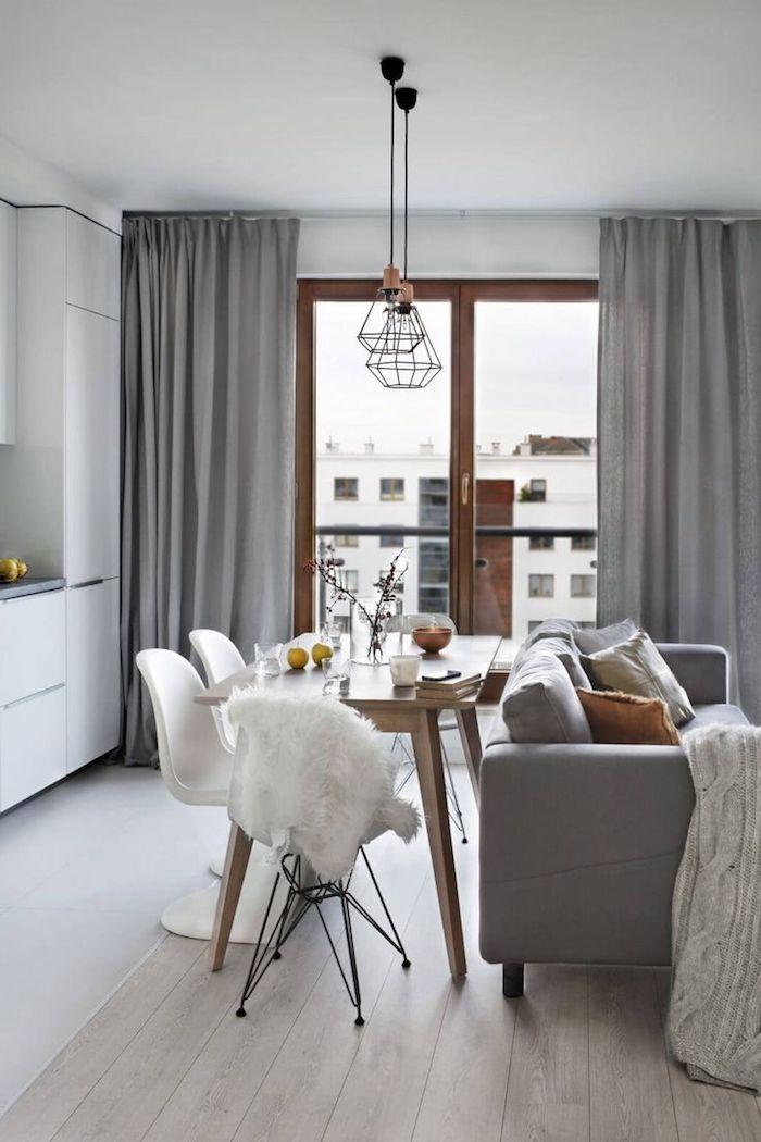 Salon cosy en blanc et gris aménager un salon en longueur déco scandinave appartement déco simple