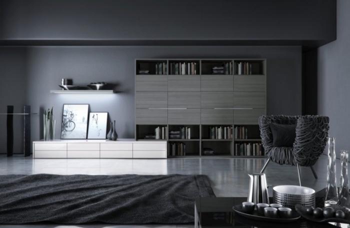 modèle de design intérieur en nuances sombres dans un salon moderne avec bibliothèque en gris souris et tapis noir