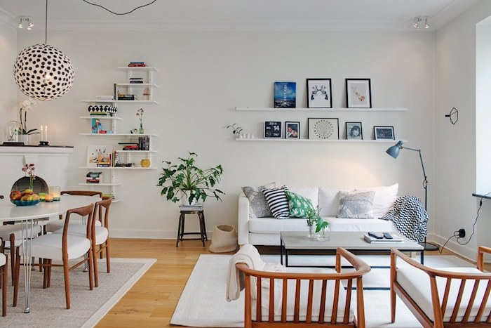 Amenager petit salon cuisine salle à manger et salon en meme pièce aménager un salon en longueur scandinave déco