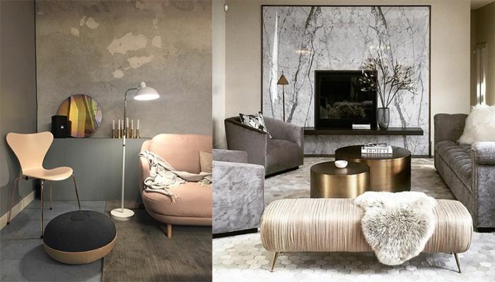 comment amenager petit salon, sofa rose cendré mis dans un salon gris à touches scandinaves et un salon gris avec des tables métalliques