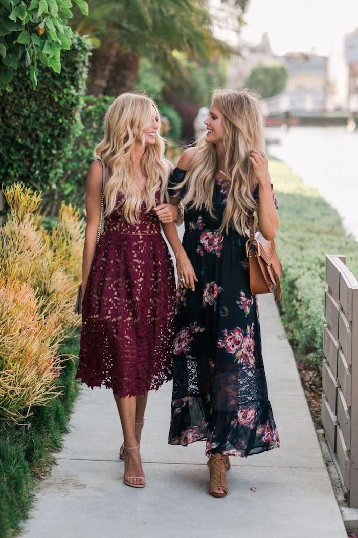 Robe mariage invité être bien habillée à un mariage ceremnie spéciale occasion amies bien habillées robe dentelle rouge et robe longue fleurie