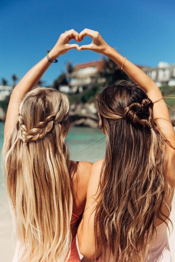 quelle coiffure plage pour cheveux longs mi attachés en couronne tresse ou coeur, eclaircir cheveux brun à la maison