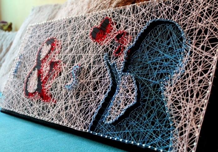 magnifique portrait DIY en fil et clous sur un tableau de bois, idée bricolage pour faire un objet déco intérieur