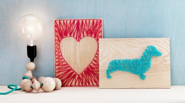 activité manuelle facile avec bois clair et fil rouge, tableau de bois avec décoration en fil rouge de forme coeur