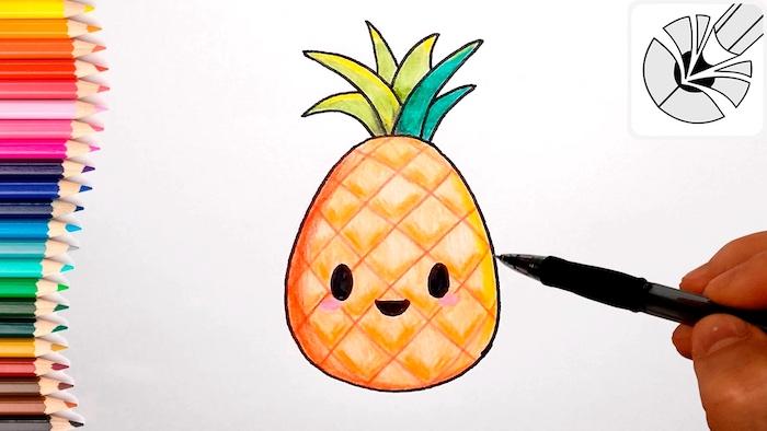 Dessin cute dessin ananas chouette idée dessin ado simple fille dessiner un ananas mignon dessin
