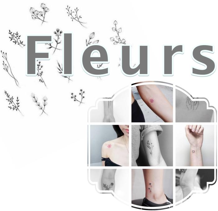 superbe idée tatouage pour femme, tattoo aux motifs floraux et emplacement discret sur le poignet ou la cheville