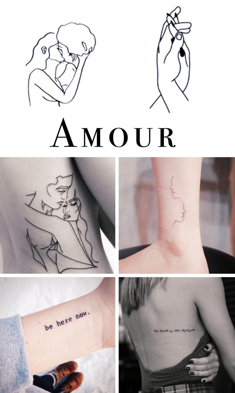 choisir son petit tatouage sur le thème d'amour, petit dessin en encre sur le corps féminin à design couple amoureux