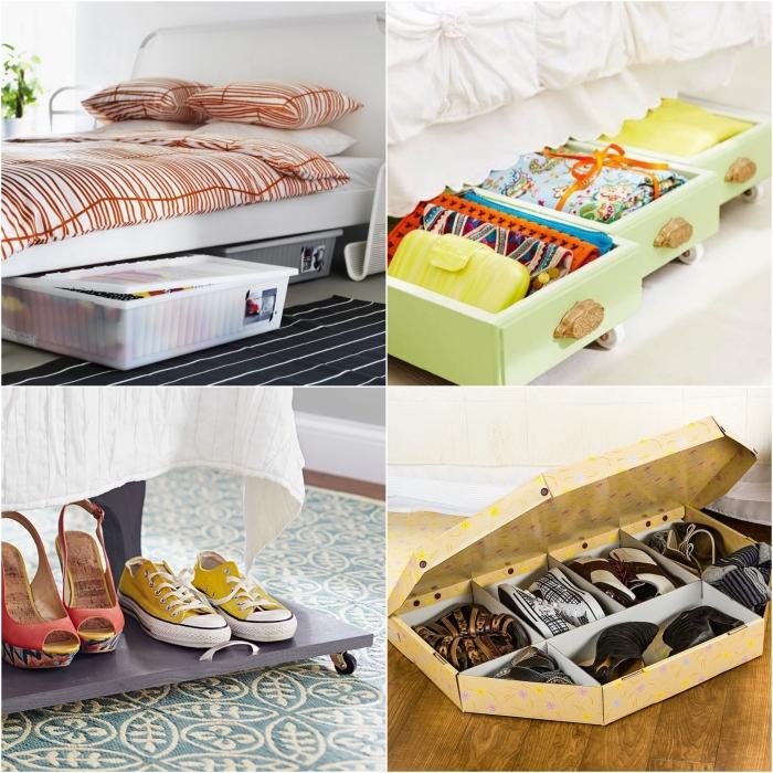 idee rangement chaussure dans une petite chambre à coucher, optimisez l'espace sous le lit avec des boîtes de rangement et des tiroirs à roulettes