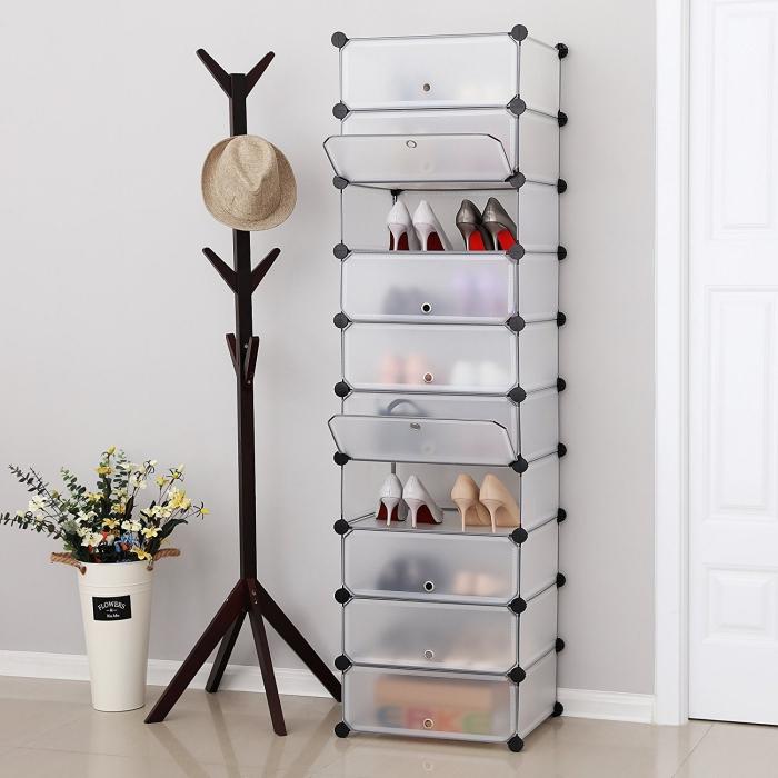 une etagère et casier à chaussures qui joue l'effet de la transparence, à poser dans l'entrée ou dans la chambre à coucher