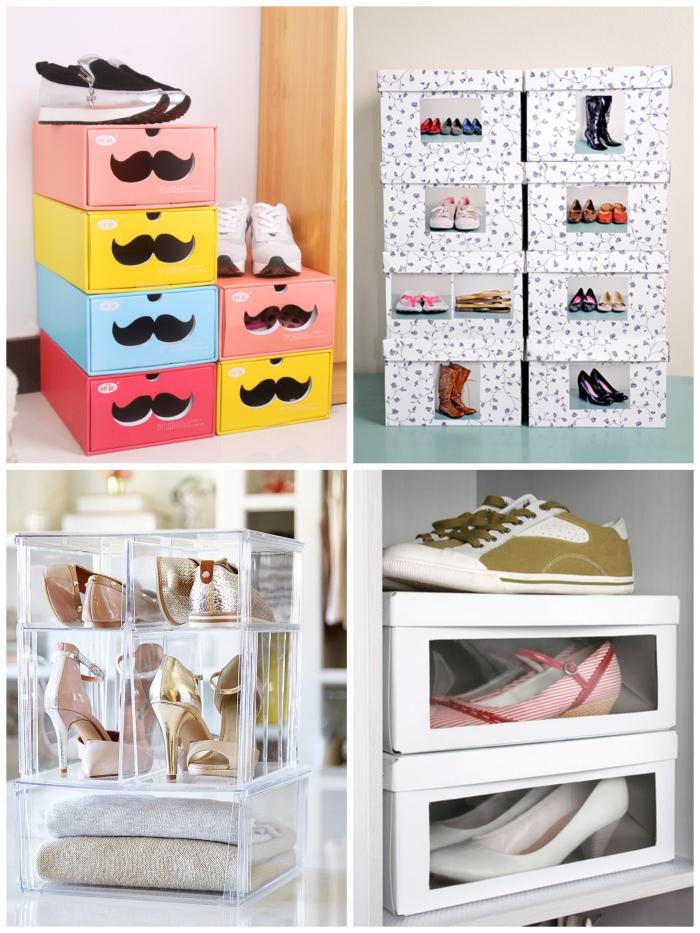 idee rangement chaussures avec des boîtes de chaussures transparentes ou personnalisées qui font un joli accent déco dans la chambre à coucher