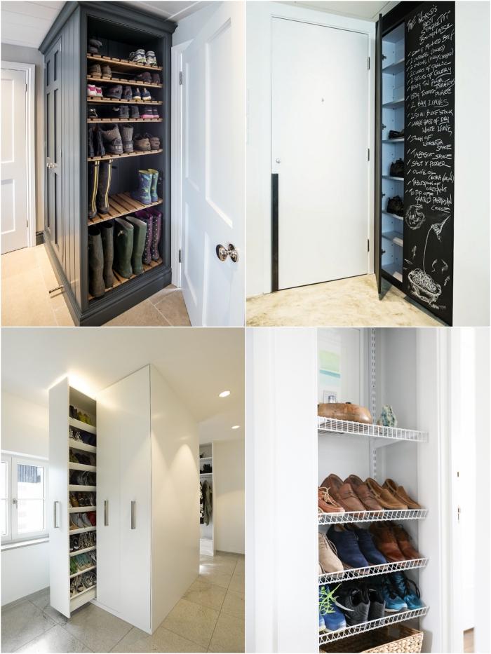 astuce rangement chaussures gain-de-places, optimiser les espaces vides et les coins cacher dans la maison avec des meubles à chaussures encastrés ou coulissants