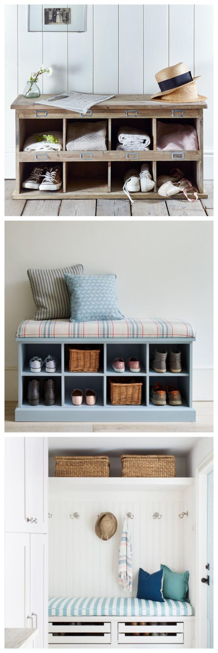idée pour un banc a chaussure fonctionnel avec plusieurs casiers de rangement, aménagement d'une petite entrée fonctionnelle