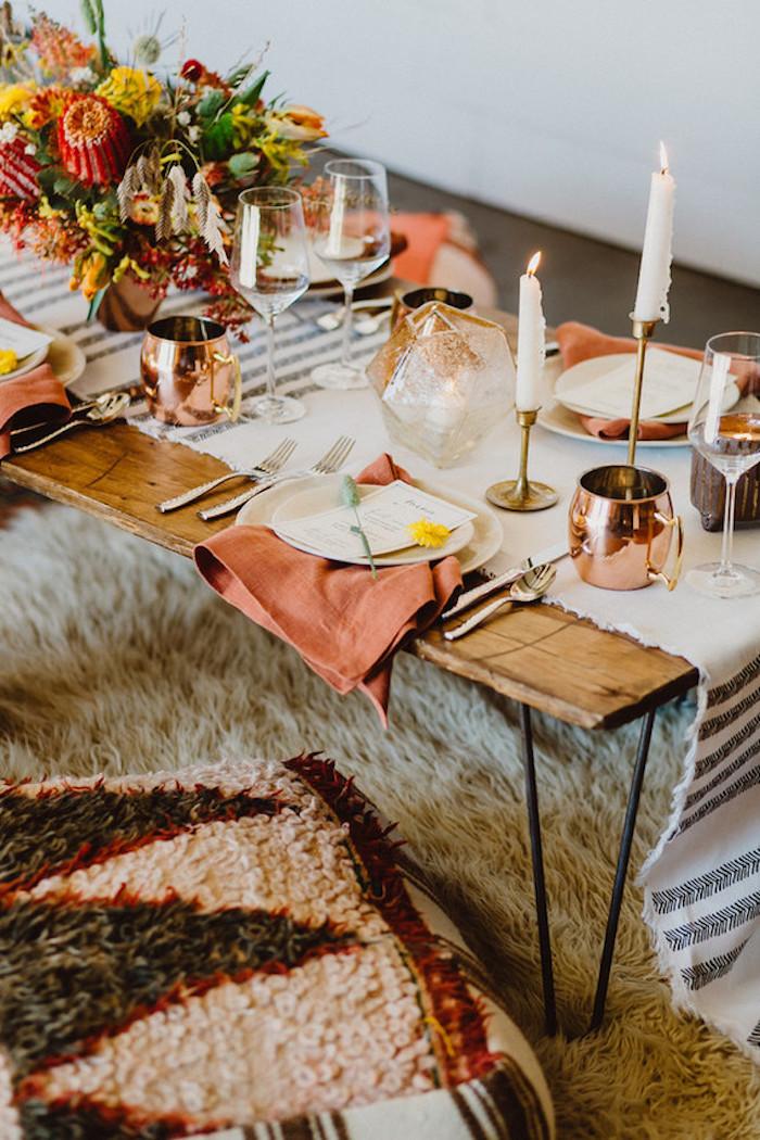 Menu de mariage décoration de table mariage thématique idée comment décorer la table mariage bohème