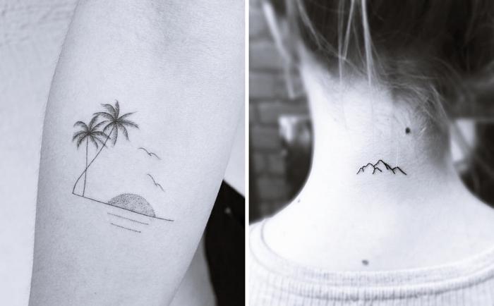 exemple de tatouage femme discret à dessin paysage exotique avec palmier océan et soleil, petit tattoo à dessins montagnes minimaliste sur le nuque