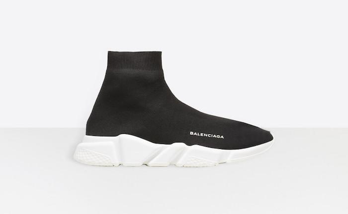 modele basket ville homme tendance luxe Balenciaga Speed Trainer noir blanc chaussettes été