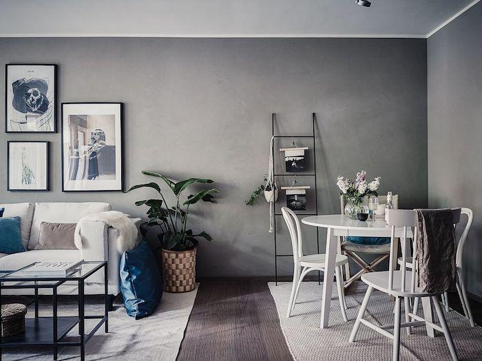 Couleur de peinture pour salon salle a manger idée déco scandinave adorable déco fonctionnelle et originale echelle rangement