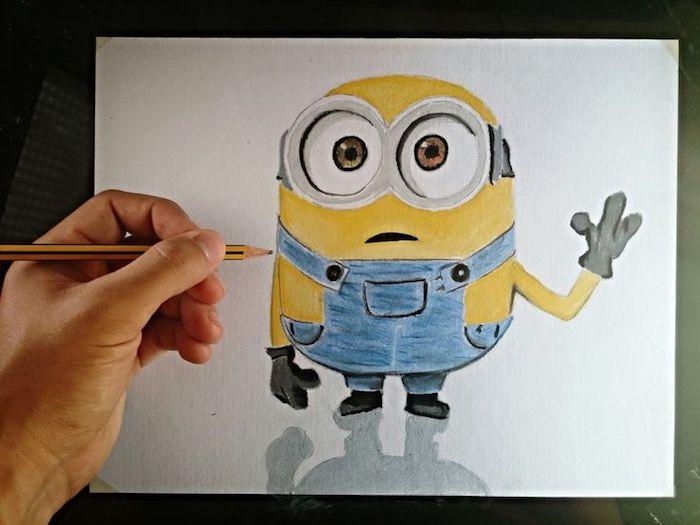 Idée dessin facile a faire etape par etape beaux animaux mignons idée pour les enfants minion jaune dessin mignon d'un minion