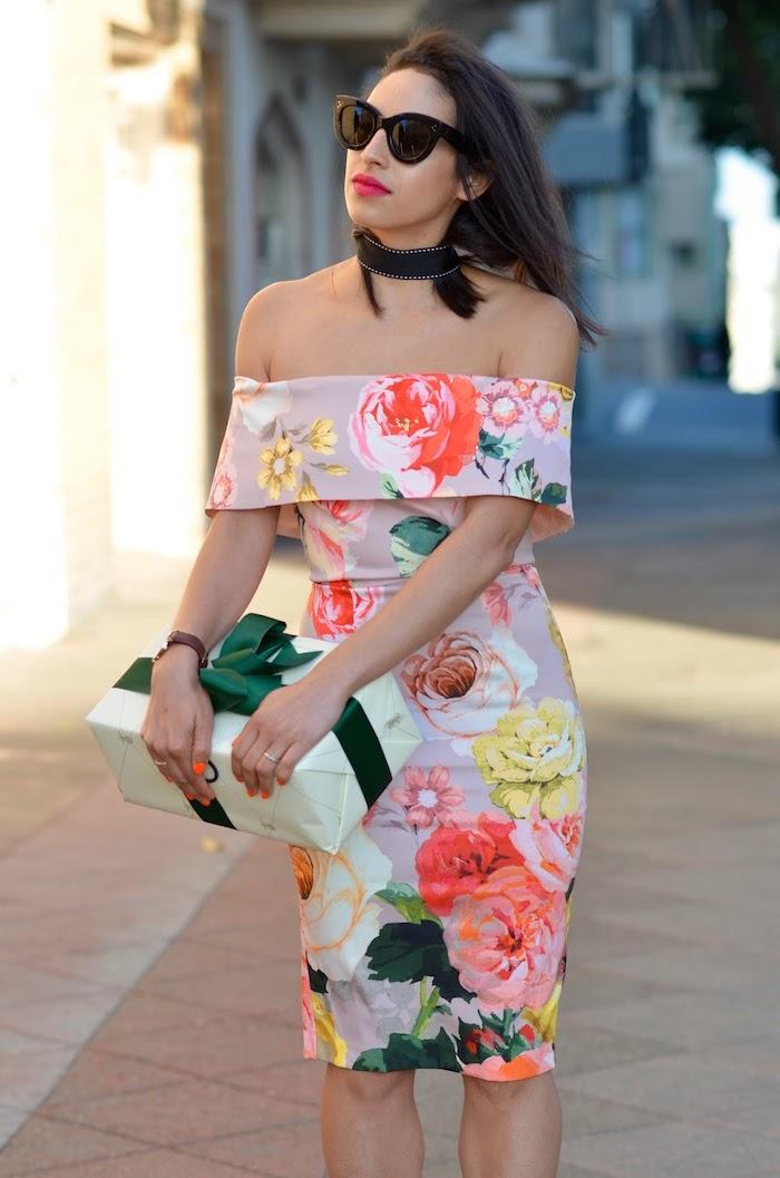 Robe longue pour mariage tenue habillée femme printemps robe à porter robe fleurie epaules denudees robe chic