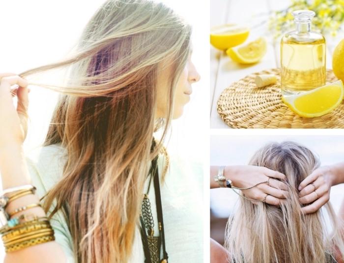 préparer une masque maison pour décoloration de cheveux châtain avec citron et eau chaude, cheveux longs avec mèches